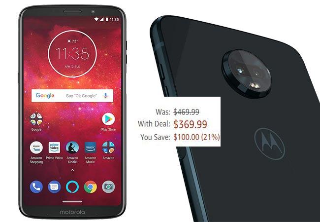 Moto Z3 Play 64 GB Amazon Deal USD 370 US Region