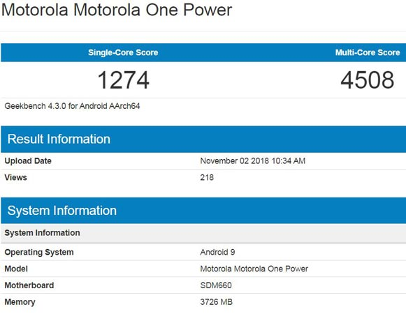 Moto One Power Pie 9.0 Version Appears GeekBench