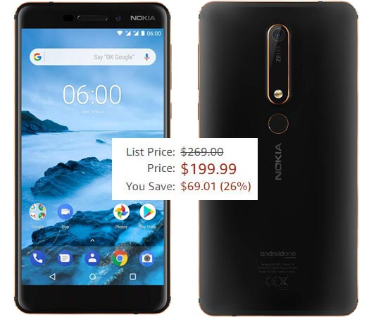 Nokia 6.1 2018 32 GB Android One Amazon Deal USD 200 US Region